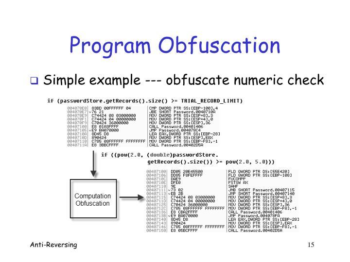 Program Obfuscation
