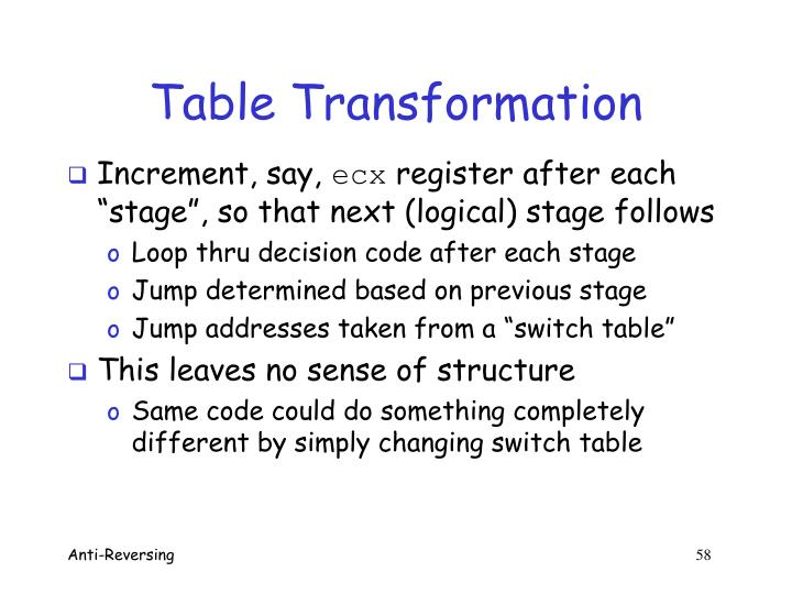 Table Transformation