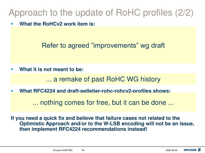 Approach to the update of RoHC profiles (2/2)