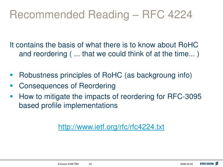 Recommended Reading – RFC 4224