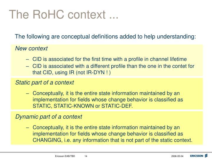 The RoHC context ...