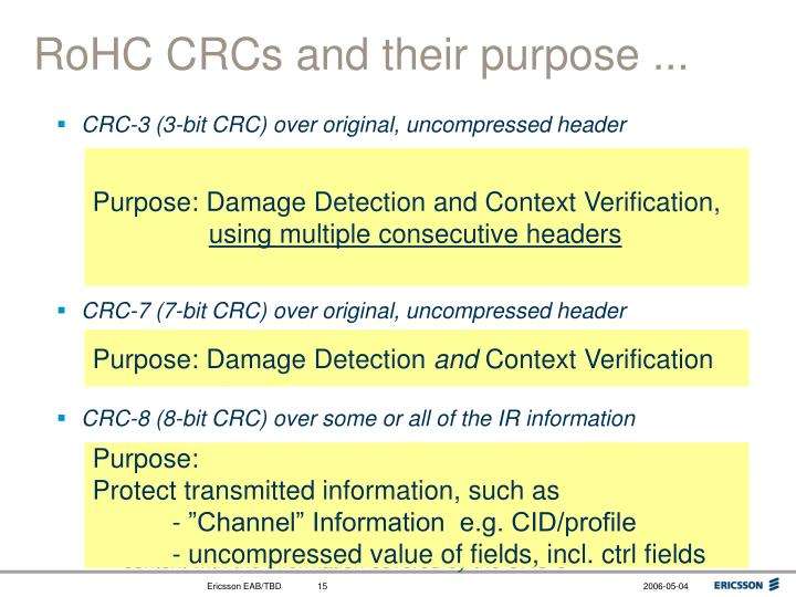 RoHC CRCs and their purpose ...