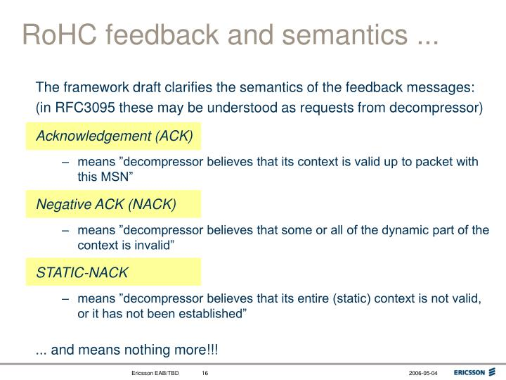RoHC feedback and semantics ...