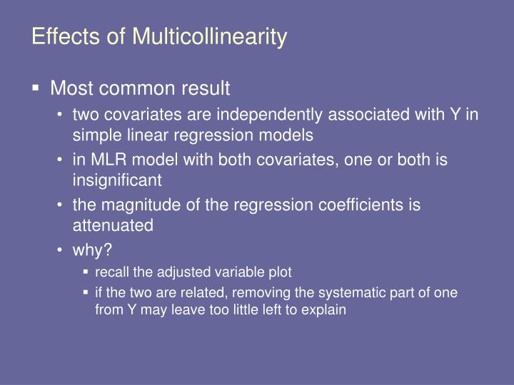 Effects of Multicollinearity