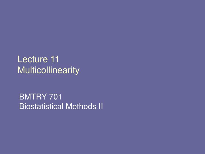 Lecture 11 multicollinearity