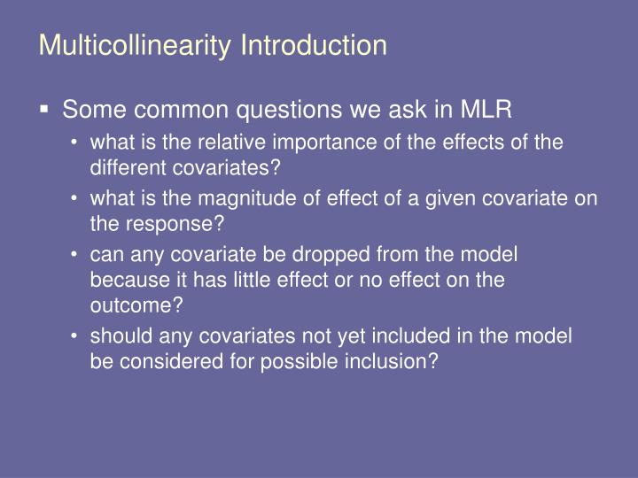 Multicollinearity Introduction
