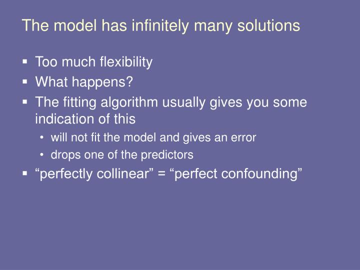 The model has infinitely many solutions