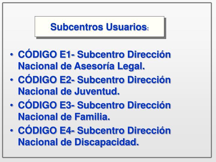 Subcentros Usuarios