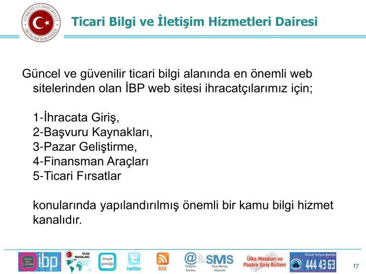 Güncel ve güvenilir ticari bilgi alanında en önemli web sitelerinden olan İBP web sitesi ihracatçılarımız için;