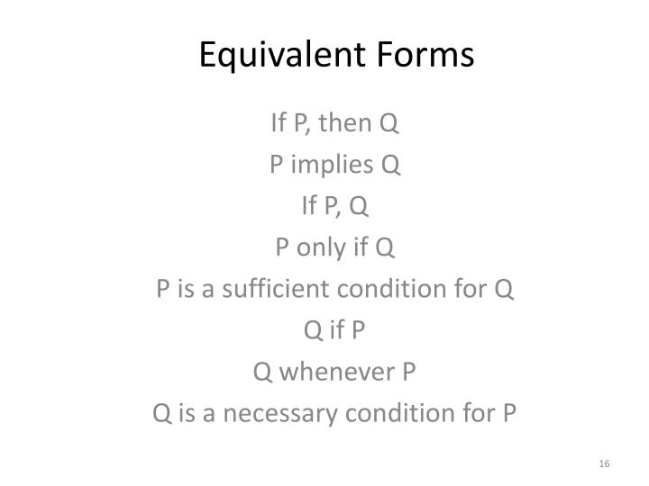 Equivalent Forms