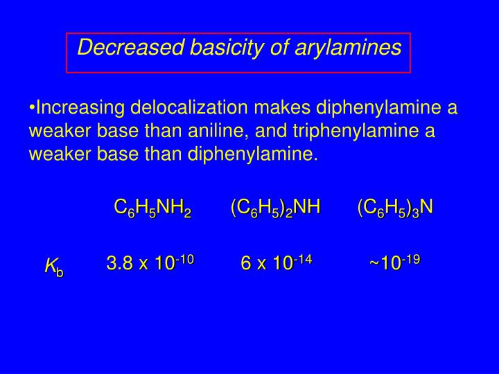 Decreased basicity of arylamines
