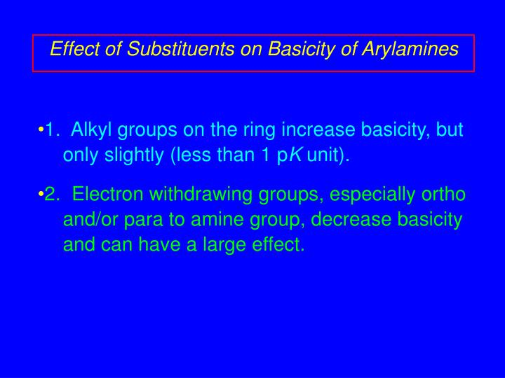 Effect of Substituents on Basicity of Arylamines