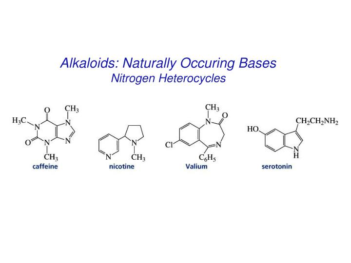 Alkaloids: Naturally Occuring Bases