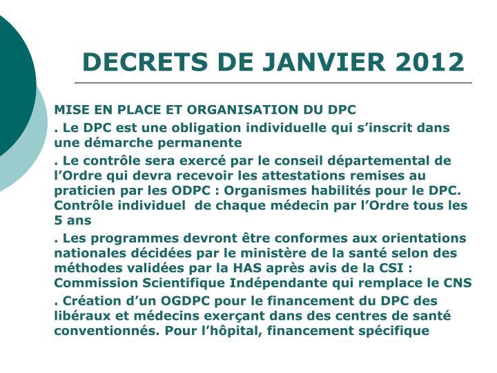 DECRETS DE JANVIER 2012