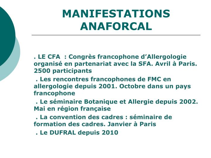 MANIFESTATIONS ANAFORCAL