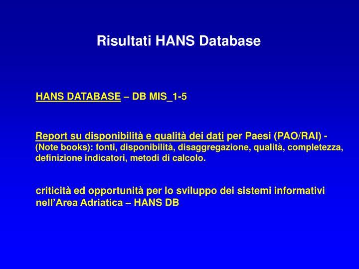 Risultati HANS Database