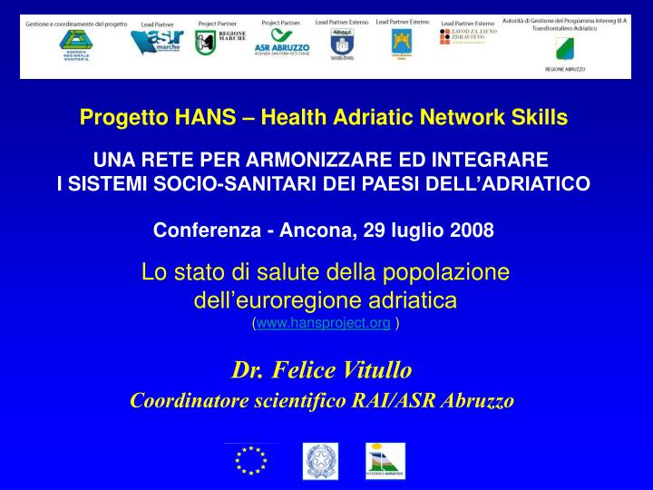 Progetto HANS – Health Adriatic Network Skills