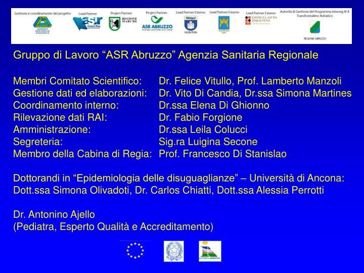 """Gruppo di Lavoro """"ASR Abruzzo"""" Agenzia Sanitaria Regionale"""