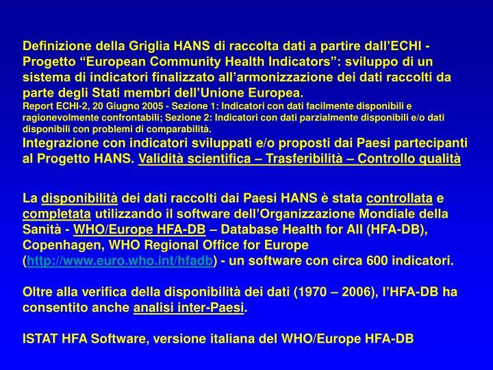 Definizione della Griglia HANS di raccolta dati a partire dall'ECHI -