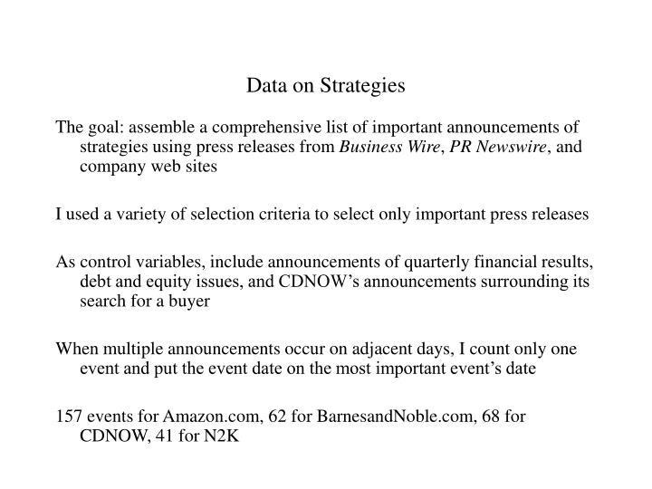 Data on Strategies