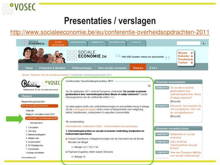 Presentaties / verslagen