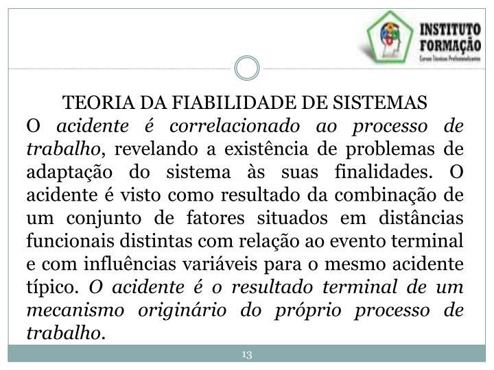 TEORIA DA FIABILIDADE DE SISTEMAS