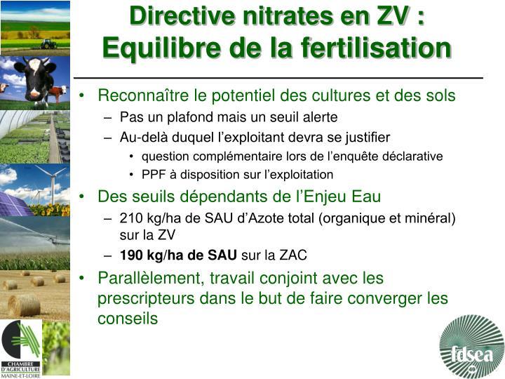Directive nitrates en ZV :