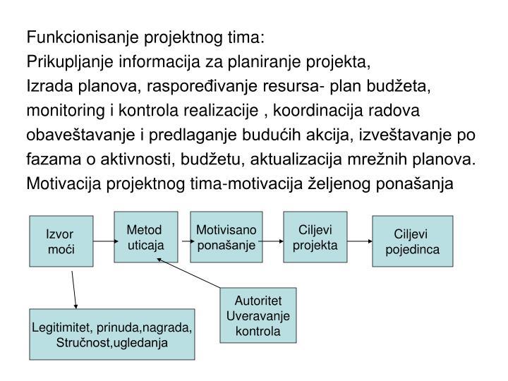 Funkcionisanje projektnog tima:
