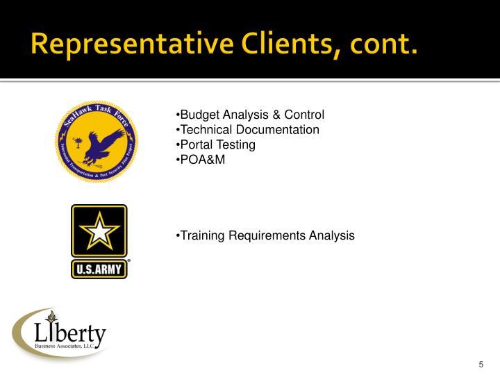 Representative Clients, cont.
