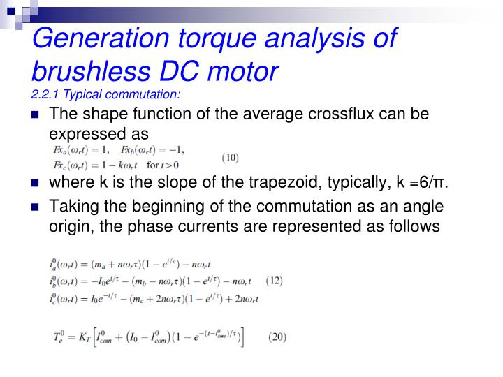 Generation torque analysis of  brushless DC motor