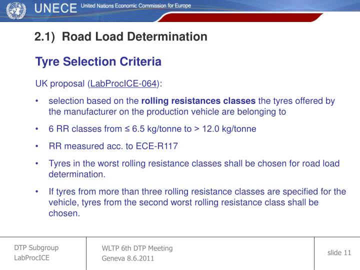 2.1)  Road Load Determination