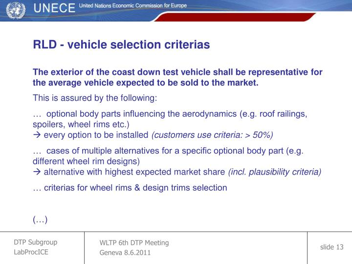 RLD - vehicle selection criterias