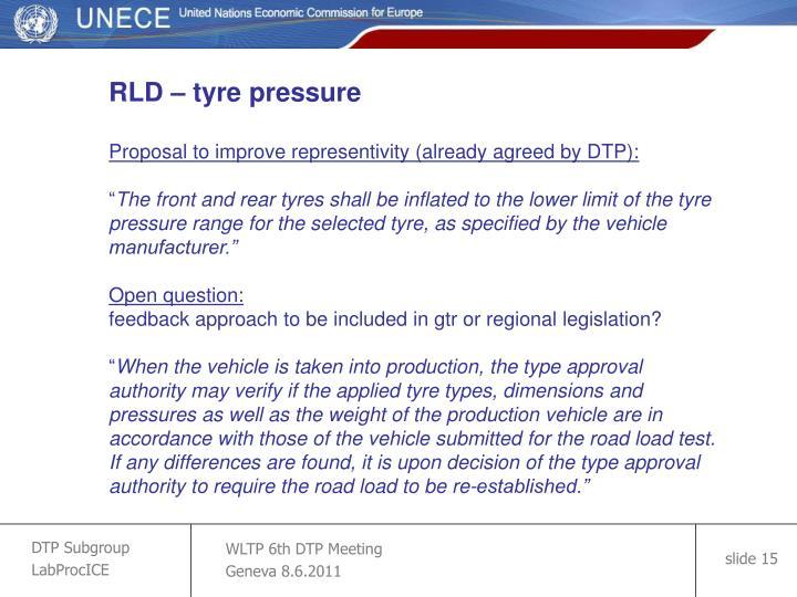 RLD – tyre pressure