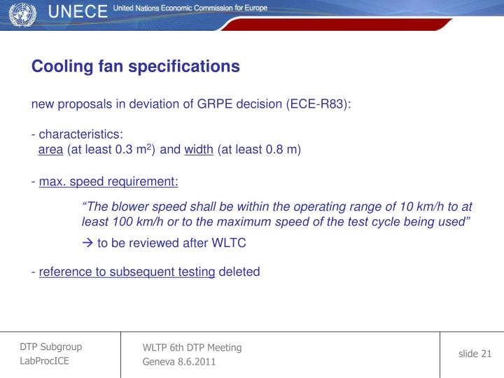 Cooling fan specifications
