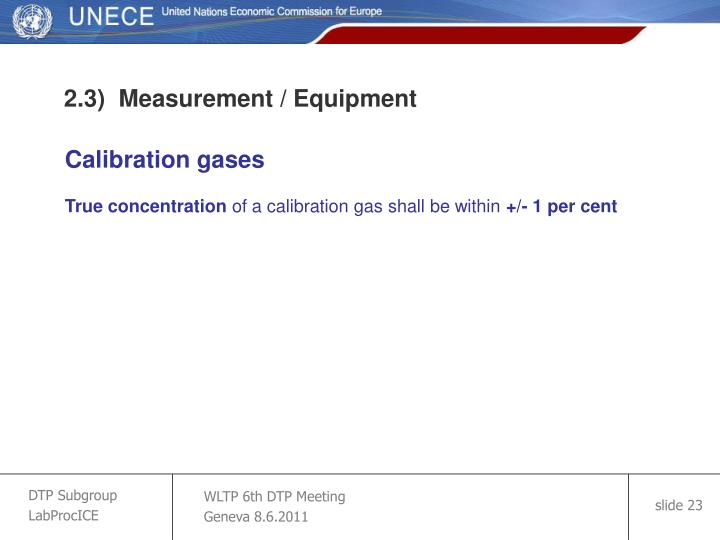 2.3)  Measurement / Equipment