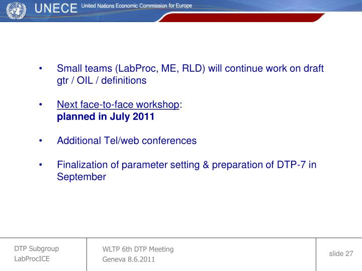 Small teams (LabProc, ME, RLD) will continue work on draft gtr / OIL / definitions