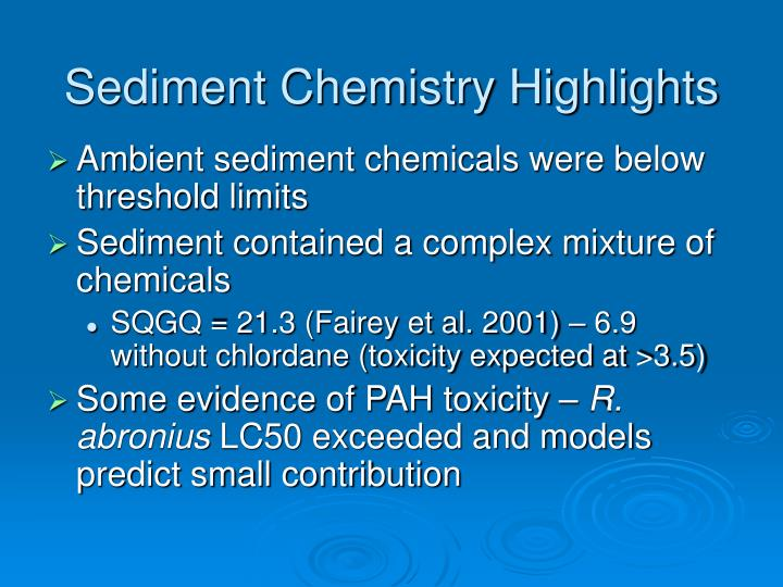 Sediment Chemistry Highlights