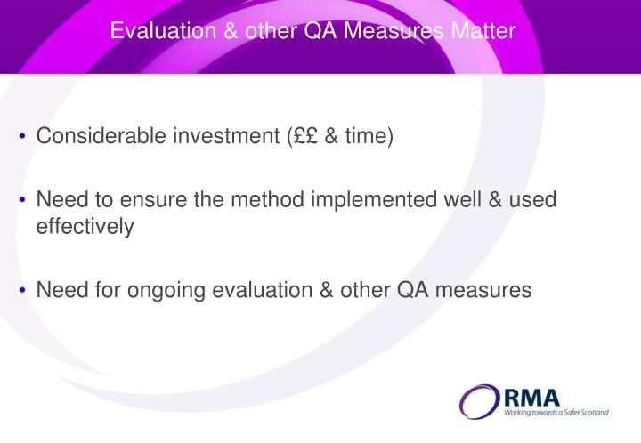 Evaluation & other QA Measures Matter