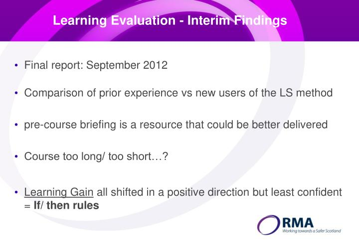 Learning Evaluation - Interim Findings