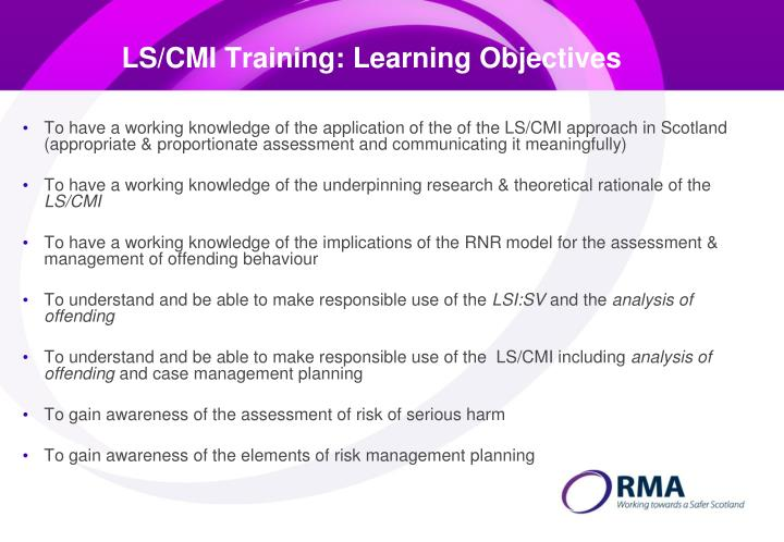 LS/CMI Training: Learning Objectives