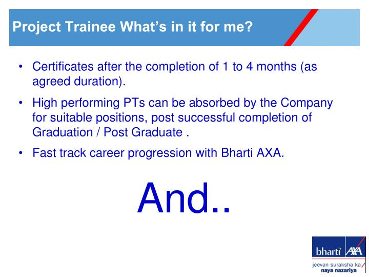 Certificates after the completion of 1 to 4 months (as agreed duration).