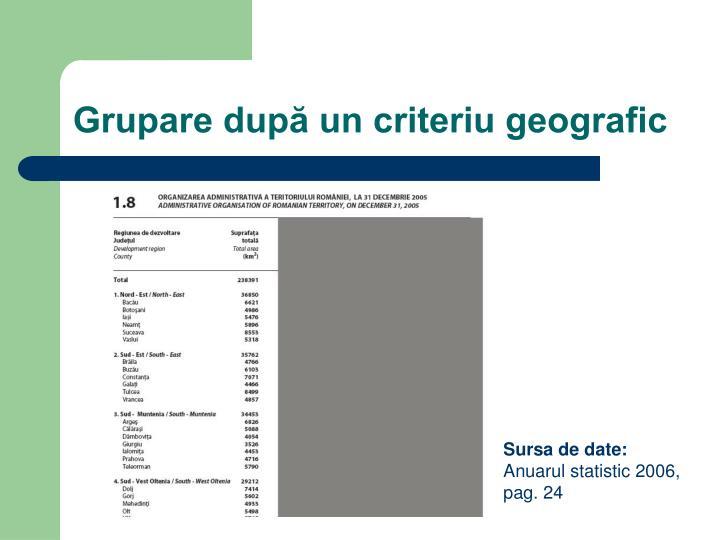 Grupare după un criteriu geografic