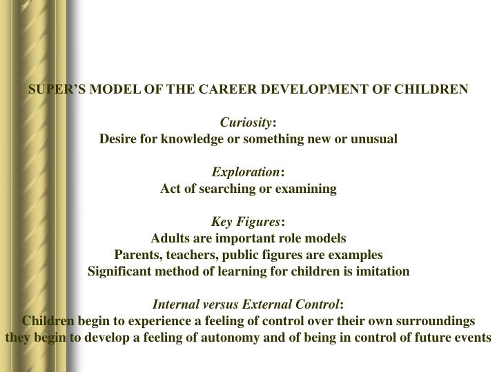 SUPER'S MODEL OF THE CAREER DEVELOPMENT OF CHILDREN