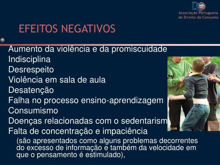 EFEITOS NEGATIVOS