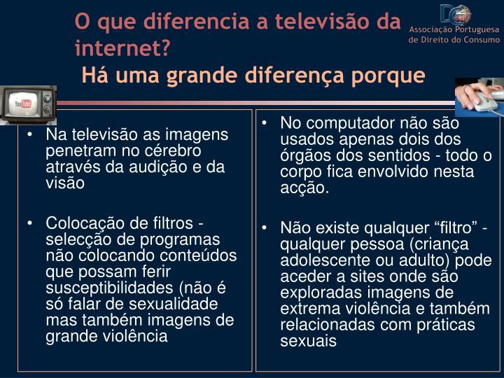 Na televisão as imagens penetram no cérebro através da audição e da visão