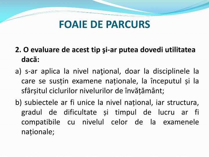 FOAIE DE PARCURS