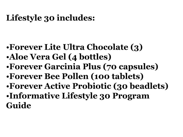 Lifestyle 30 includes: