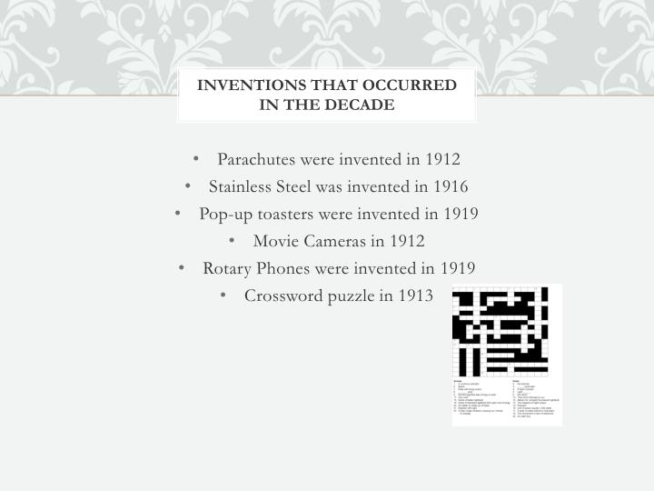 Inventions that occurred in the decade