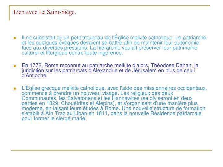 Lien avec Le Saint-Siège.
