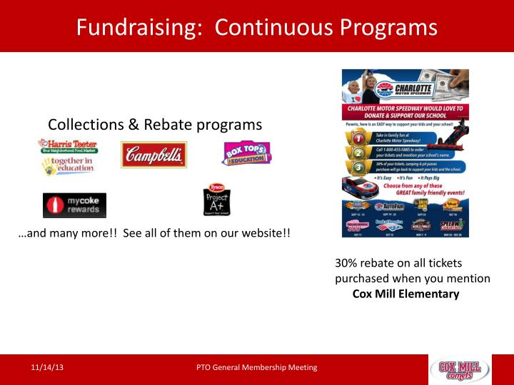 Fundraising:  Continuous Programs